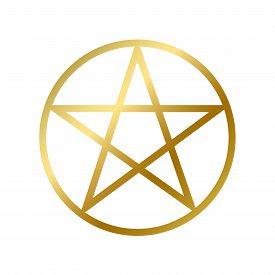 Wicca Pentagram Symbol Isolated Occult Star Sign
