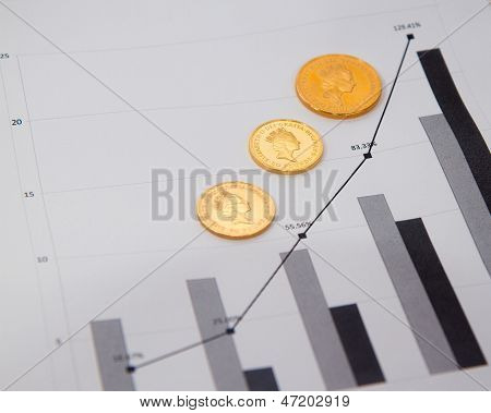 Gold Coins On Financial Chart