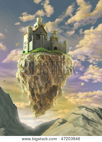 Fantasy castle floating on a big rock over a gorgeous sunset landscape. Digital illustration.