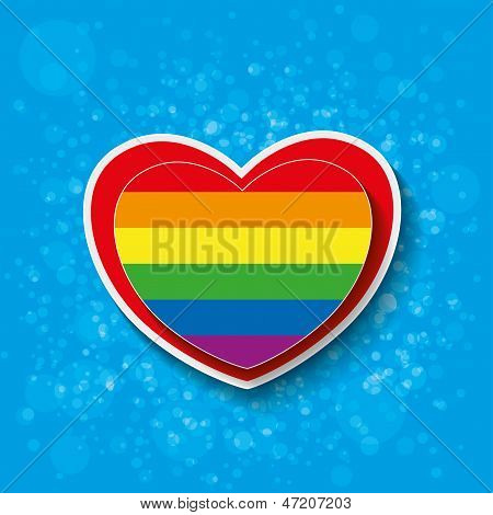 Rainbow Paper Heart Bubbles Black Red Background