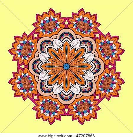 Circle lace steampunk ornament, round ornamental geometric pattern