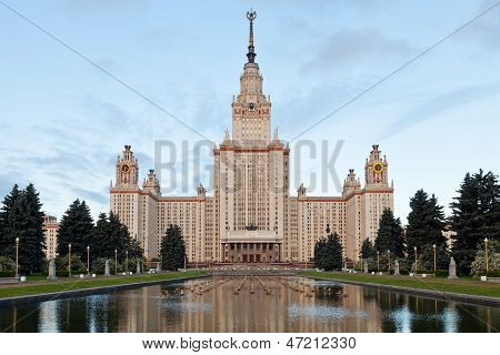 front view of Lomonosov Moscow State University and Scientist Alley poster