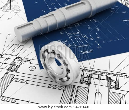 Mechanical Sketch With 3D Model And Bearing