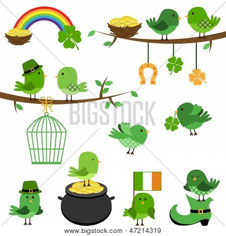 Vector Set of St Patrick's Day Themed Birds