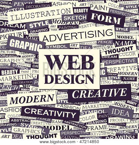 WEB DESIGN. Word cloud concept illustration.