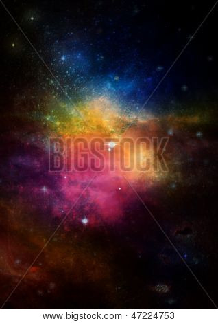 Far space being shone nebula as abstract background poster