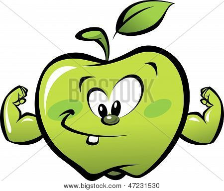 Happy Cartoon Strong Green Apple Making A Power Gesture