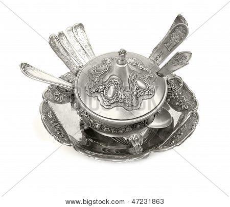 Old antique silverware  cutlery