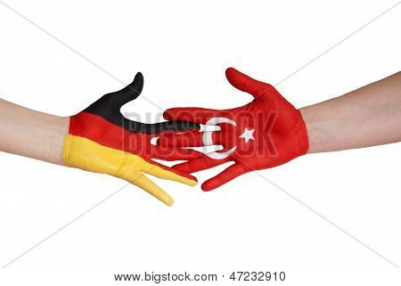 Germany And Turkey Giving Hands
