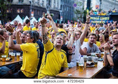 Kiev, Ukraine - June 10: Swedish Fans Have Fun During Uefa Euro 2012 On June 10, 2012 In Kiev, Ukrai