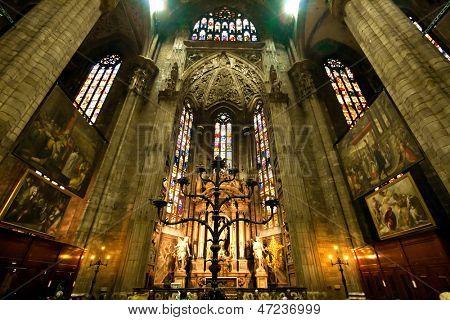 MILAN, ITALY - APRIL 9:Interior of Milan Duomo Cathedral in Milan Italy on April 9, 2010. Milan Duomo is the cathedral church of Milan, Italy was built since 1386.