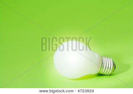 Light Bulb On Green