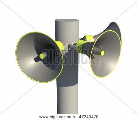 megaphones on a post