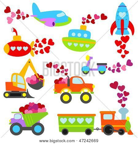 Valentine's Day Themed Cartoon Transportation Set