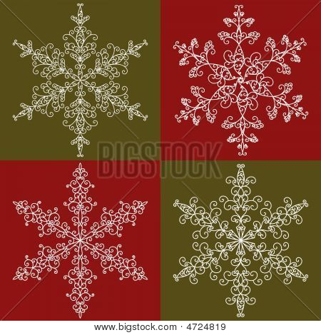 Vector illustration of four ornate snowflakes over red and green. poster