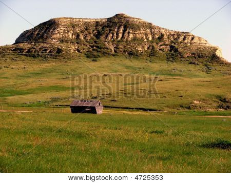 Butte With Corn Crib