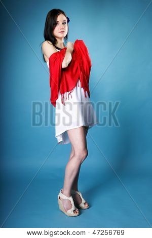 Pretty Summer Woman With Red Shawl