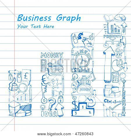 illustration of business doodle bar graph