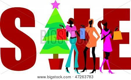 christmas shopping,shopping girls and sale word