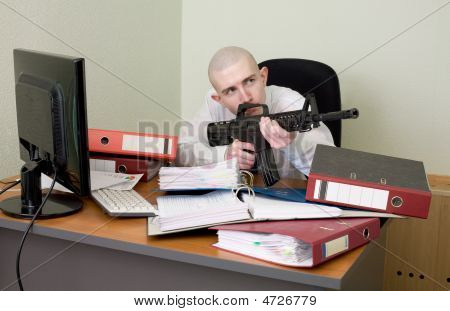 Accountant Armed With A Rifle