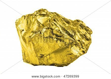 A Gold Nugged Isolated On White Background