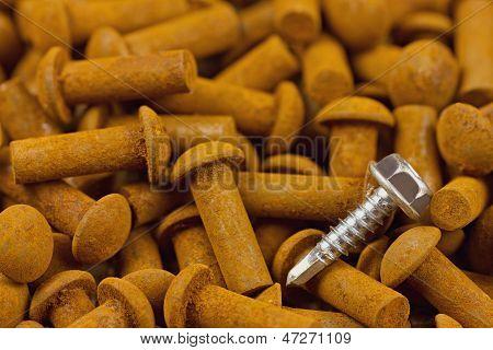 Chrom Screw On Rusty Rivets