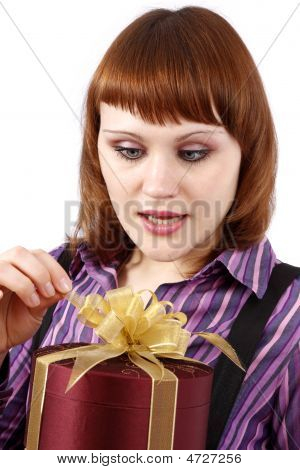 Surprise. Woman With Gift.