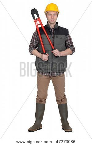 Worker with boltcutters