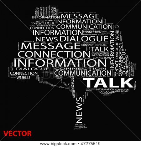 Vector eps concept or conceptual white tree talk word cloud on black background wordcloud