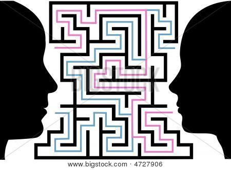 Man Woman Silhouettes Face A Puzzle Maze
