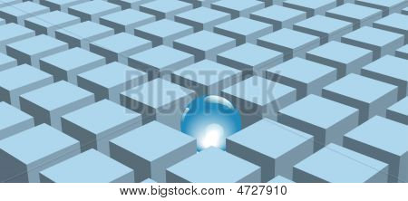 A shiny ball stands out a set of rows of abstract blue cubes or boxes. poster