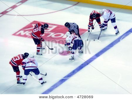 Montreal Canadiens Line Up For Face Off Against New Jersey Devils