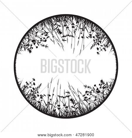 abstract vector round floral design element with wild grass, herbs and flowers