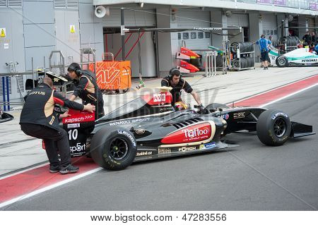 MOSCOW - JUNE 23: Marlon Stockinger of Lotus team (CZE) prepares for start at World Series by Renault in Moscow Raceway on June 23, 2013 in Moscow