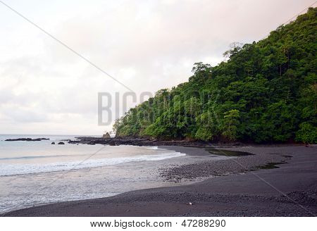 Beach And Shoreline In Panama With Hill