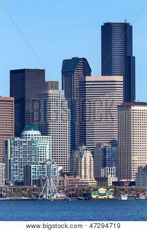 Seattle Towers Buildings Waterfront Cityscape Washington