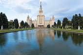panoramic view of Alley and main building of Moscow State University poster