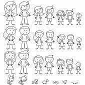 Large Set of Stick Figure People and Pets poster