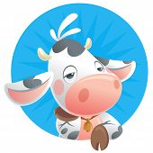 Cartoon sleepy baby cow thinking in a blue background icon poster