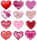 Pink and Red Vector Collection of Stylized Hearts poster