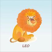 Astrological symbol of funny Lion or Leo poster