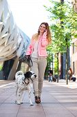 Portrait of a beautiful young woman walking her dog and talking to friends on mobile phone poster