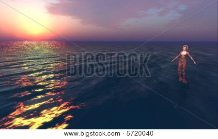 panorama realization in ambient virtual, virtual worlds sunset poster