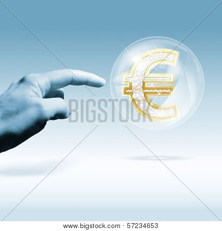 Financial Crisis Concept - Euro sign in a bubble. Combination Of Photo And Graphic. poster