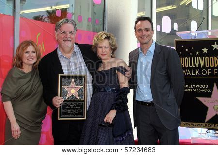 Nancy Cartwright, Matt Groening, Yeardley Smith, Hank Azaria at the Matt Groening Star on the Hollywood Walk of Fame Ceremony, Hollywood, CA 02-14-12