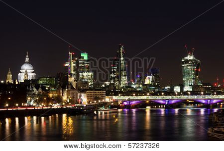 Part of London City Skyline at Night poster