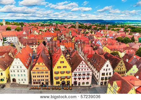 Scenic summer aerial panorama of the Old Town architecture and Market Square in Rothenburg ob der Tauber, Bavaria, Germany poster