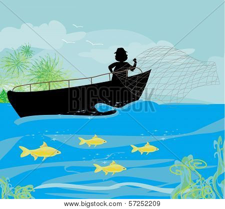fisherman silhouette and fishing boat , vector illustration poster
