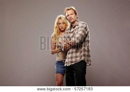 Jennifer Blanc and Michael Biehn On the Set of
