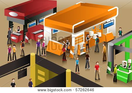 The Scene At An Exhibition Booths